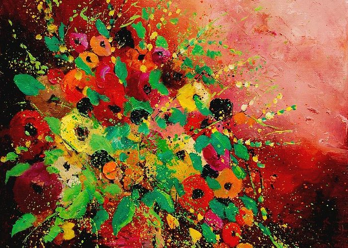 Flowers Greeting Card featuring the painting Bunch of flowers 0507 by Pol Ledent