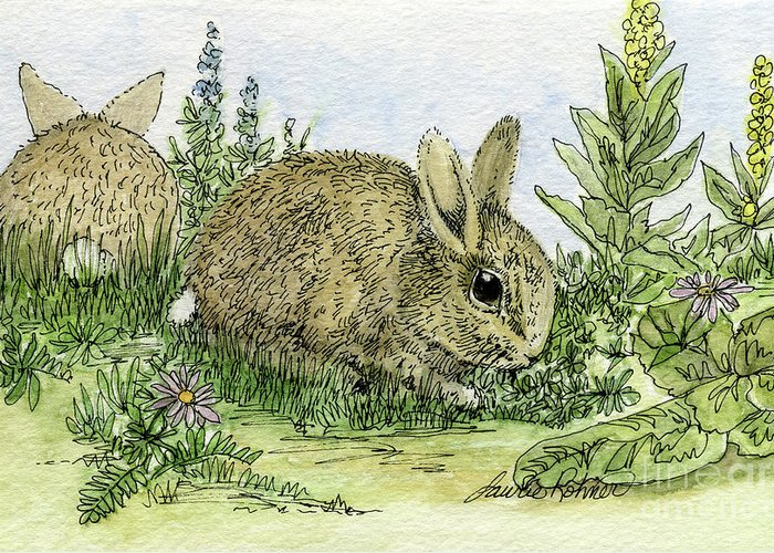 Bunnies Greeting Card featuring the painting Bunnies by Laurie Rohner