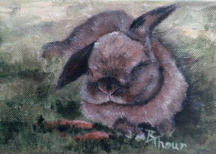 Bunny Greeting Card featuring the painting Bunny Dreams by Brenda Thour