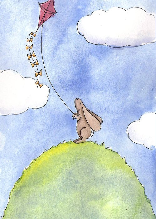 Bunny Greeting Card featuring the painting Bunny With A Kite by Christy Beckwith