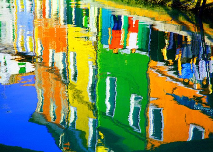 Burano Greeting Card featuring the pastel Burano Reflections by Donna Corless
