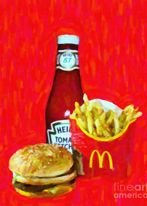 Mcdonald Greeting Card featuring the photograph Burger Fries And Ketchup by Wingsdomain Art and Photography