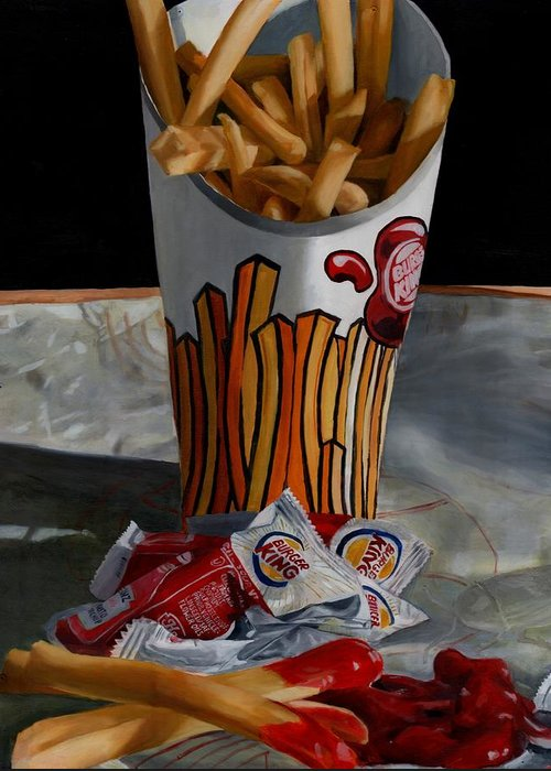 Fried Food Greeting Card featuring the painting Burger King Value Meal No. 5 by Thomas Weeks