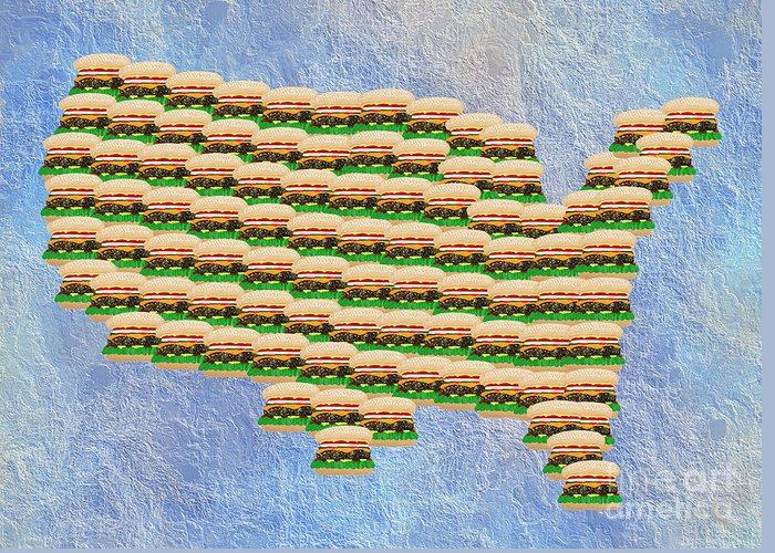 Abstract Greeting Card featuring the digital art Burger Town Usa Map by Andee Design
