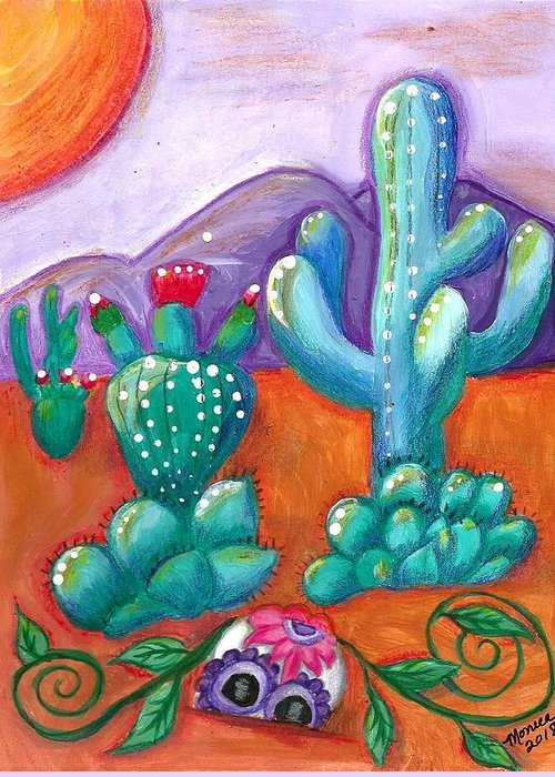 Sugar Skull Greeting Card featuring the painting Buried Sugar Skull In Desert by Monica Resinger