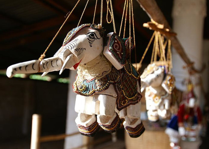 Burma Greeting Card featuring the photograph Burmese Elephant Puppets by Jessica Rose