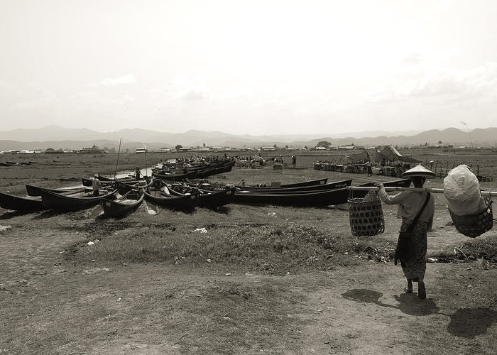 Black And White Greeting Card featuring the photograph Burmese Market At Inle Lake by Jessica Rose