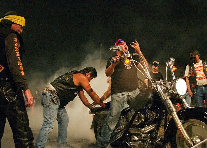 Biker Greeting Card featuring the photograph Burn Out by Skip Hunt