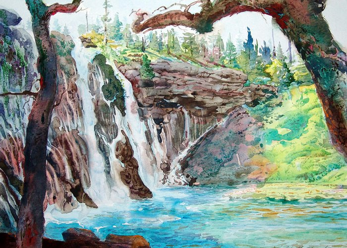Watercolor Greeting Card featuring the painting Burney Falls by John Norman Stewart