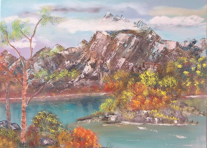 Landscape Greeting Card featuring the painting Burning Bush by Mikki Alhart