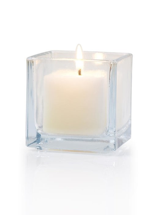 Candle Greeting Card featuring the photograph Burning Candle Side View 20 Degree by Atiketta Sangasaeng