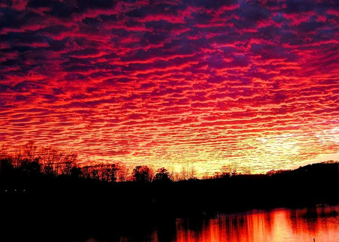 Sunset Greeting Card featuring the photograph Burning Lake by Andrew Webb