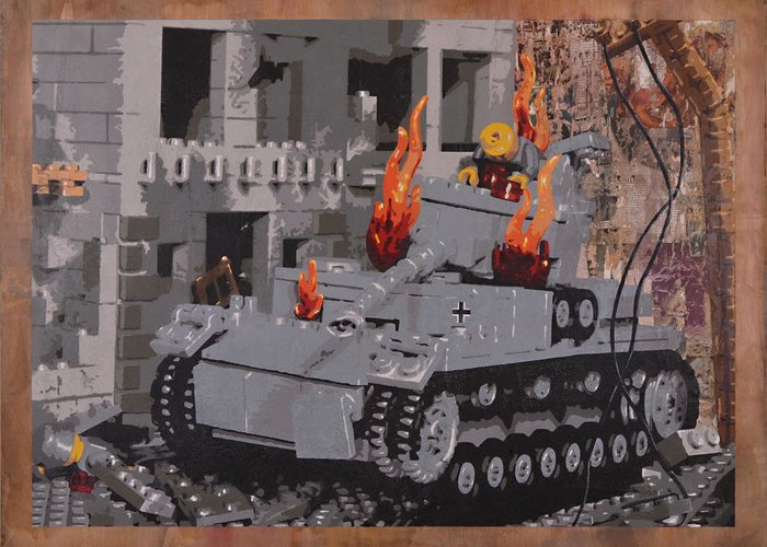 Lego Greeting Card featuring the painting Burning Panzer Iv by Josh Bernstein