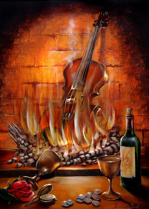 Fire Greeting Card featuring the painting Burning Violin by Roxana Paul