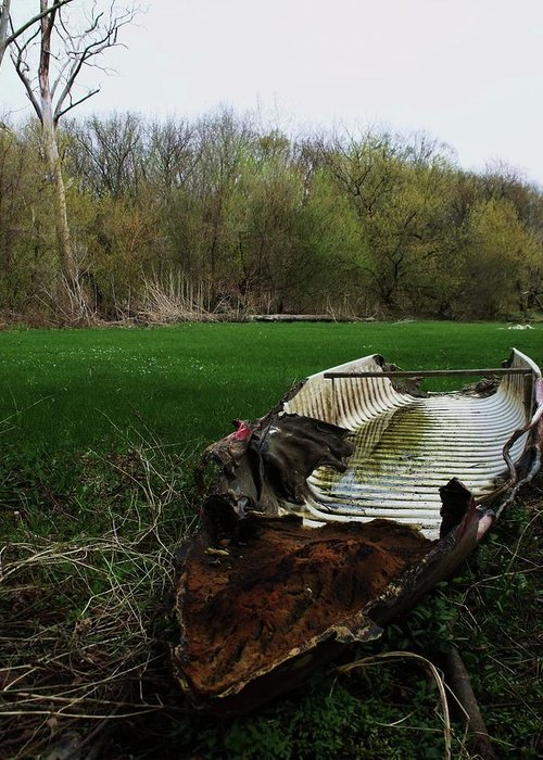 Boat Greeting Card featuring the photograph Burnt Out Boat by Anna Villarreal Garbis