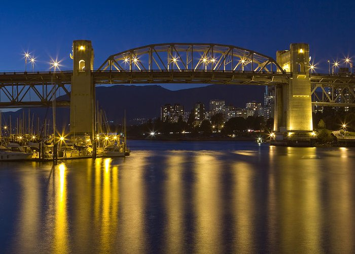 Burrard Bridge  Greeting Card featuring the photograph Burrard Street Bridge Vancouver by Naman Imagery