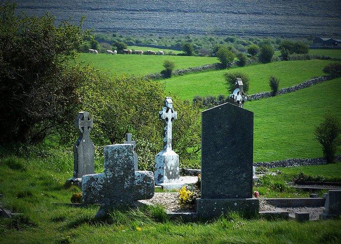 Irish Greeting Card featuring the photograph Burren Crosses County Clare Ireland by Teresa Mucha