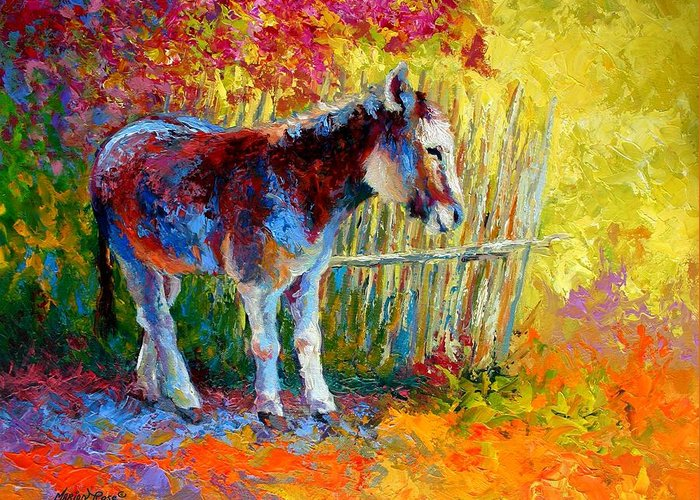 Western Greeting Card featuring the painting Burro And Bouganvillia by Marion Rose
