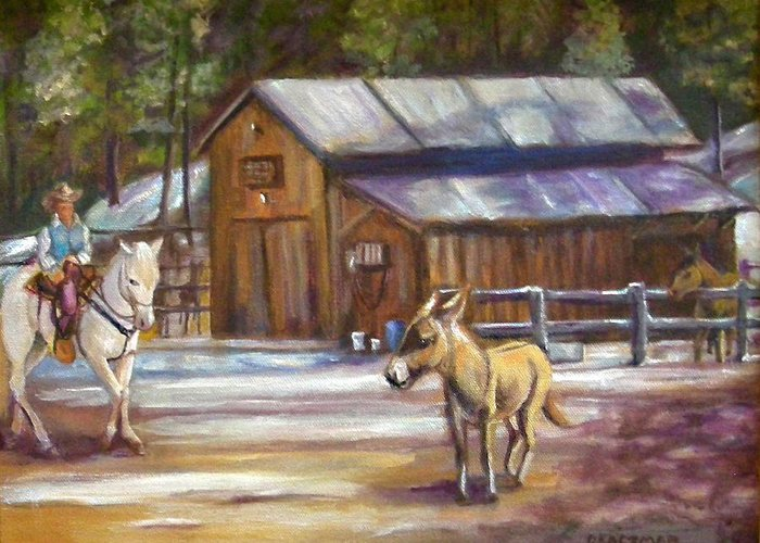Landscape Greeting Card featuring the painting Little Jack At Old Town by Olga Kaczmar