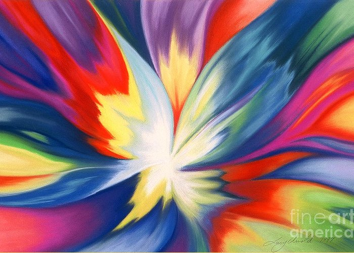 Abstract Greeting Card featuring the painting Burst Of Joy by Lucy Arnold