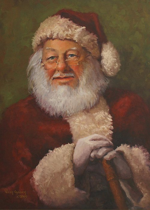 Portrait Greeting Card featuring the painting Burts Santa by Vicky Gooch