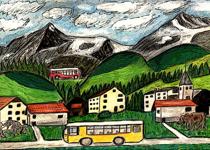 Switzerland Art Drawing Mixed Media Travel Landscape Tour Places Europe Houses Mountains Cows Greeting Card featuring the painting Bus Travel by Monica Engeler
