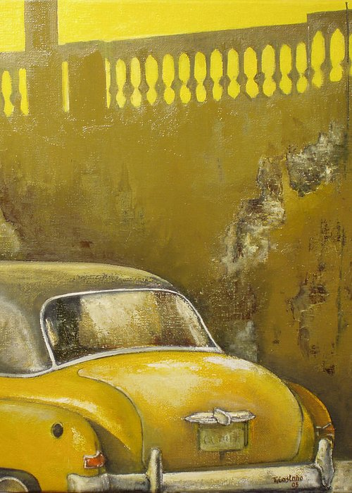 Havana Greeting Card featuring the painting Buscando La Sombra by Tomas Castano