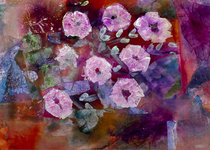 Abstract Wildflow Greeting Card featuring the painting Bush Morning Glory by Don Wright