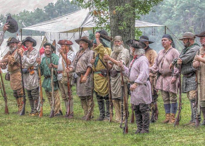 War Greeting Card featuring the digital art Bushy Run Milita Camp Roll Call by Randy Steele