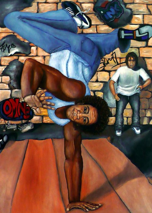 Breakdancing Greeting Card featuring the painting Bust A Move by Alima Newton