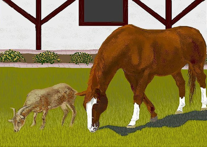Horses Greeting Card featuring the digital art Buster And Ruby by Carole Boyd
