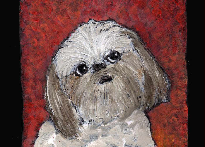 Dog Greeting Card featuring the painting Buster by Wayne Potrafka