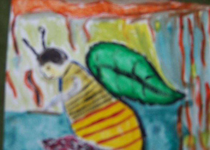 Bee Greeting Card featuring the painting Busy Bee Reading by Maggie Cruser