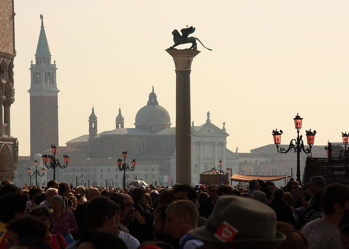 Venice Greeting Card featuring the photograph Busy Day at St. Mark's Square by Michael Henderson