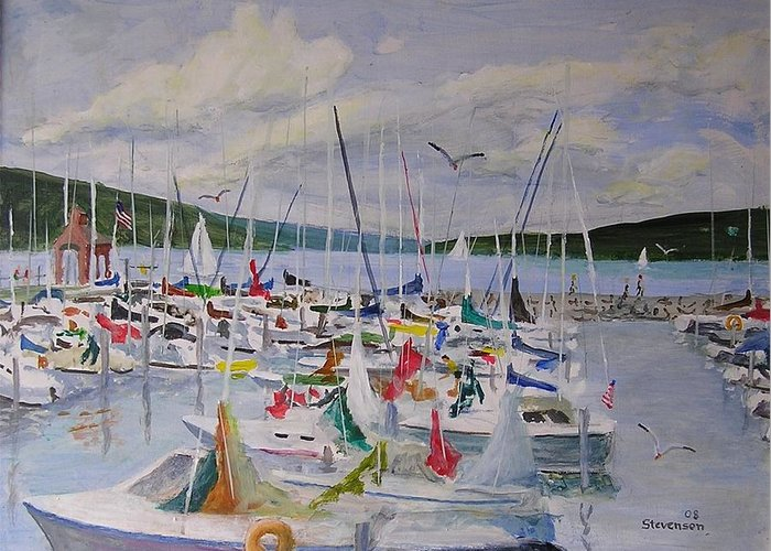Seneca Lake Boats Greeting Card featuring the painting Busy Harbor by Joseph Stevenson
