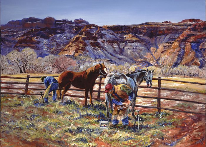 Horse Greeting Card featuring the painting Butch And Clayton Swapping Shoes And Tales by Page Holland