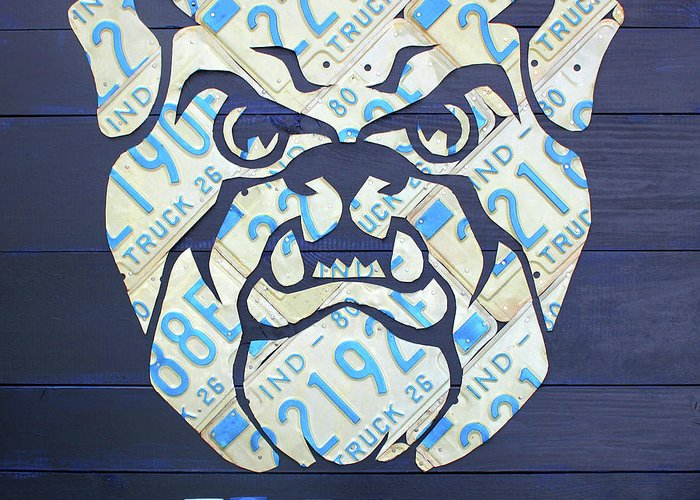 Butler Greeting Card featuring the mixed media Butler University Indiana Bulldogs Mascot License Plate Art Logo by Design Turnpike