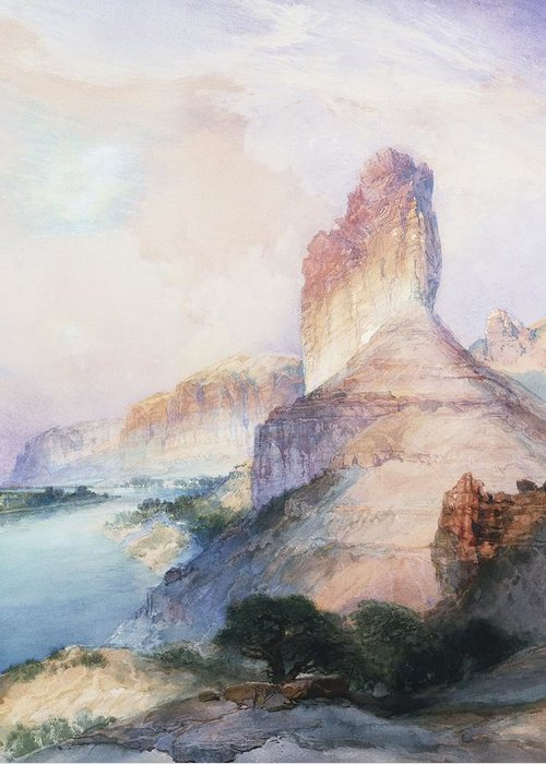 Thomas Moran Greeting Card featuring the painting Butte Green River Wyoming by Thomas Moran