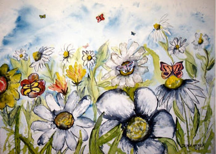 Butterfly Greeting Card featuring the painting Butterflies And Flowers by Derek Mccrea