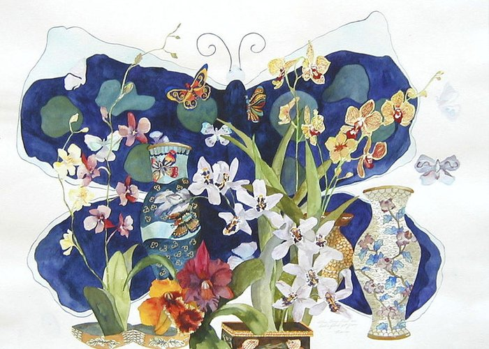 Floral Still Life Greeting Card featuring the painting Butterflies And Orchids by Marcy Silverstein