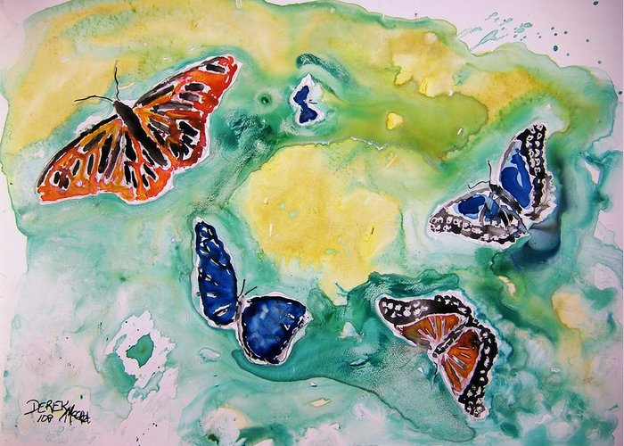 Watercolour Greeting Card featuring the painting Butterflies by Derek Mccrea
