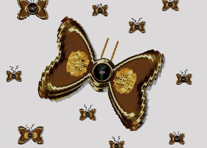 Gold Greeting Card featuring the mixed media Butterflies For The Worlds Future by Pepita Selles