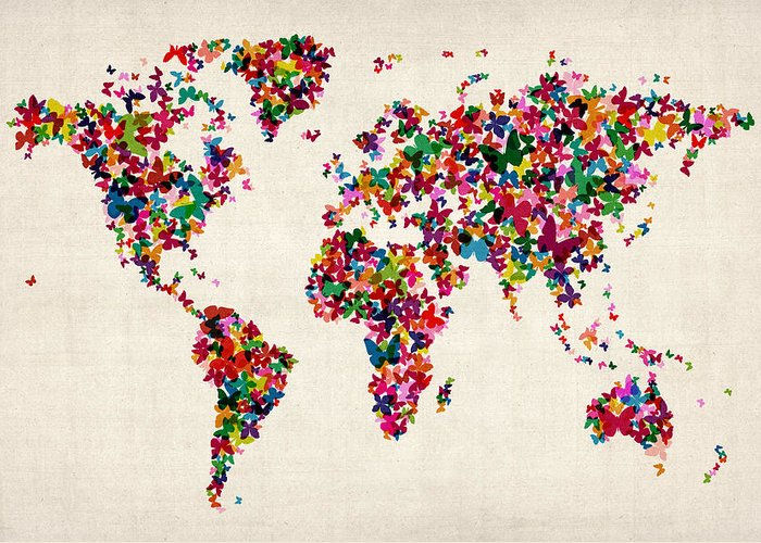 World Map Greeting Card featuring the digital art Butterflies Map Of The World by Michael Tompsett