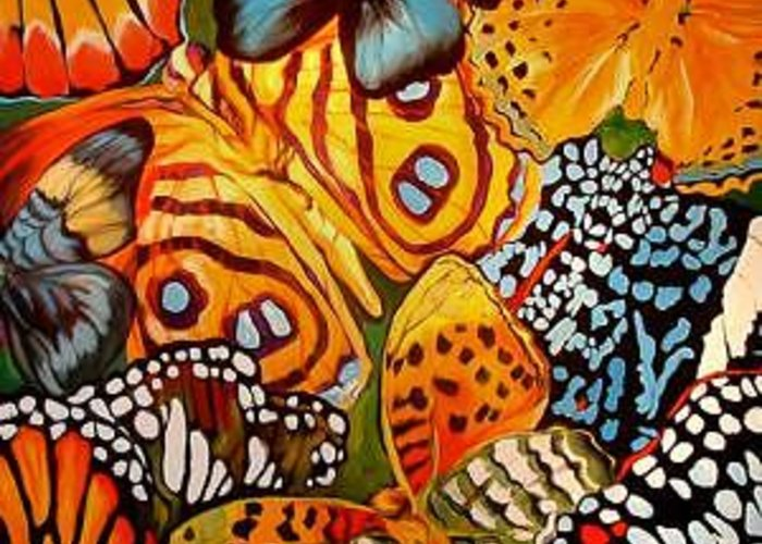 Butterfly Greeting Card featuring the painting Butterfly Abstract Commission by Marcia Baldwin