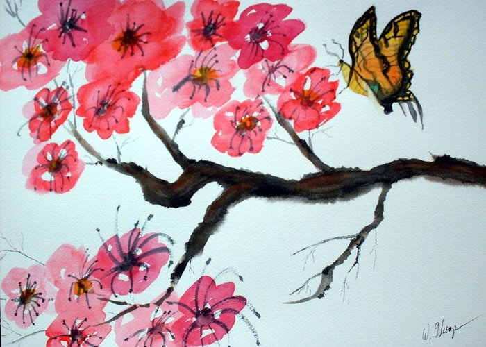 Blossoms Greeting Card featuring the painting Butterfly and Blossoms by Warren Thompson