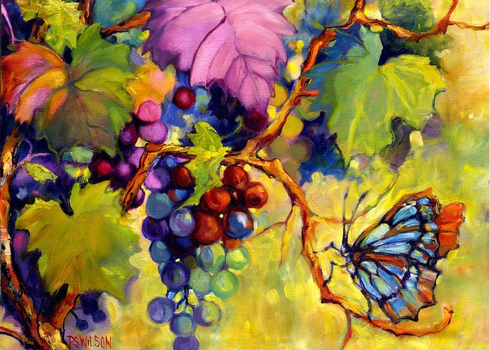 Butterfly Greeting Card featuring the painting Butterfly And Grapes by Peggy Wilson