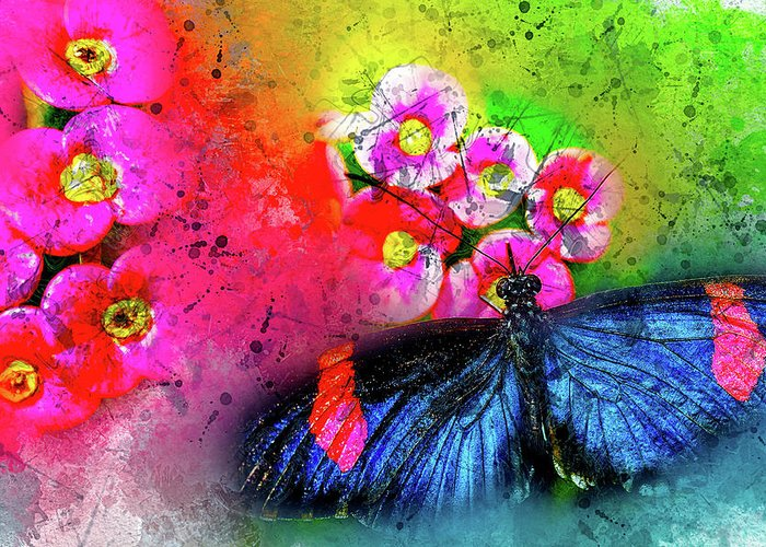 Abstract Greeting Card featuring the photograph Butterfly Color Explosion by Kay Brewer