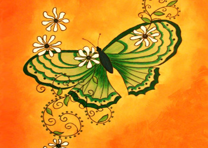 Butterfly Greeting Card featuring the painting Butterfly Doodle by Karen R Scoville