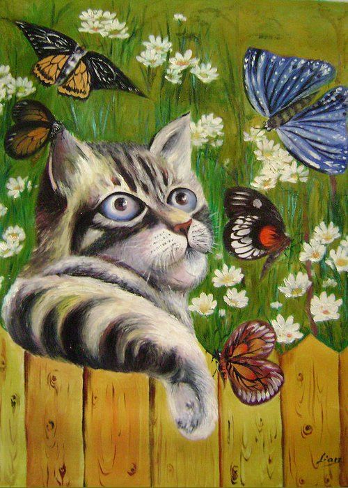 Fantasy Greeting Card featuring the painting Butterfly Dream by Lian Zhen