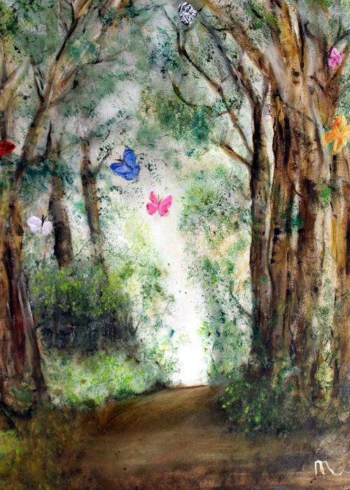 Landscape Greeting Card featuring the painting Butterfly Forest by Michela Akers